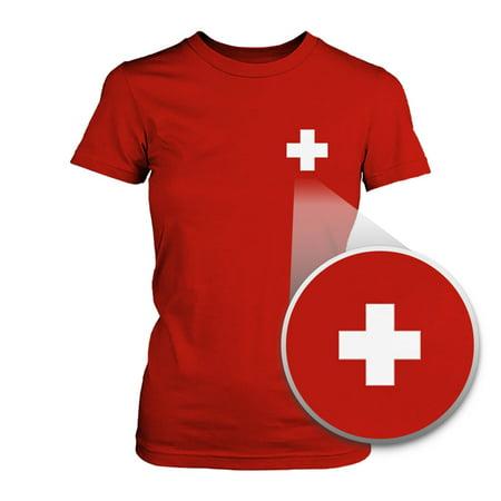 Switzerland Flag Pocket Printed Red Tee Women's Short Sleeve - Swiss Flag T-shirt