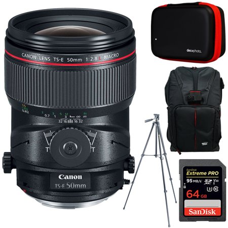 Canon TS-E 50mm f/2.8L Macro Tilt-Shift EF-Mount Full Frame Lens + 64GB Accessories Bundle Includes Backpack for Cameras + All-in-One Cleaning Kit for DSLR Cameras + 60-Inch Video & Photography (Best Full Frame Dslr For Sports Photography)