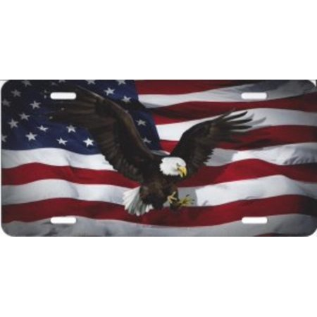 - Eagle Centered On American Flag Airbrush License Plate
