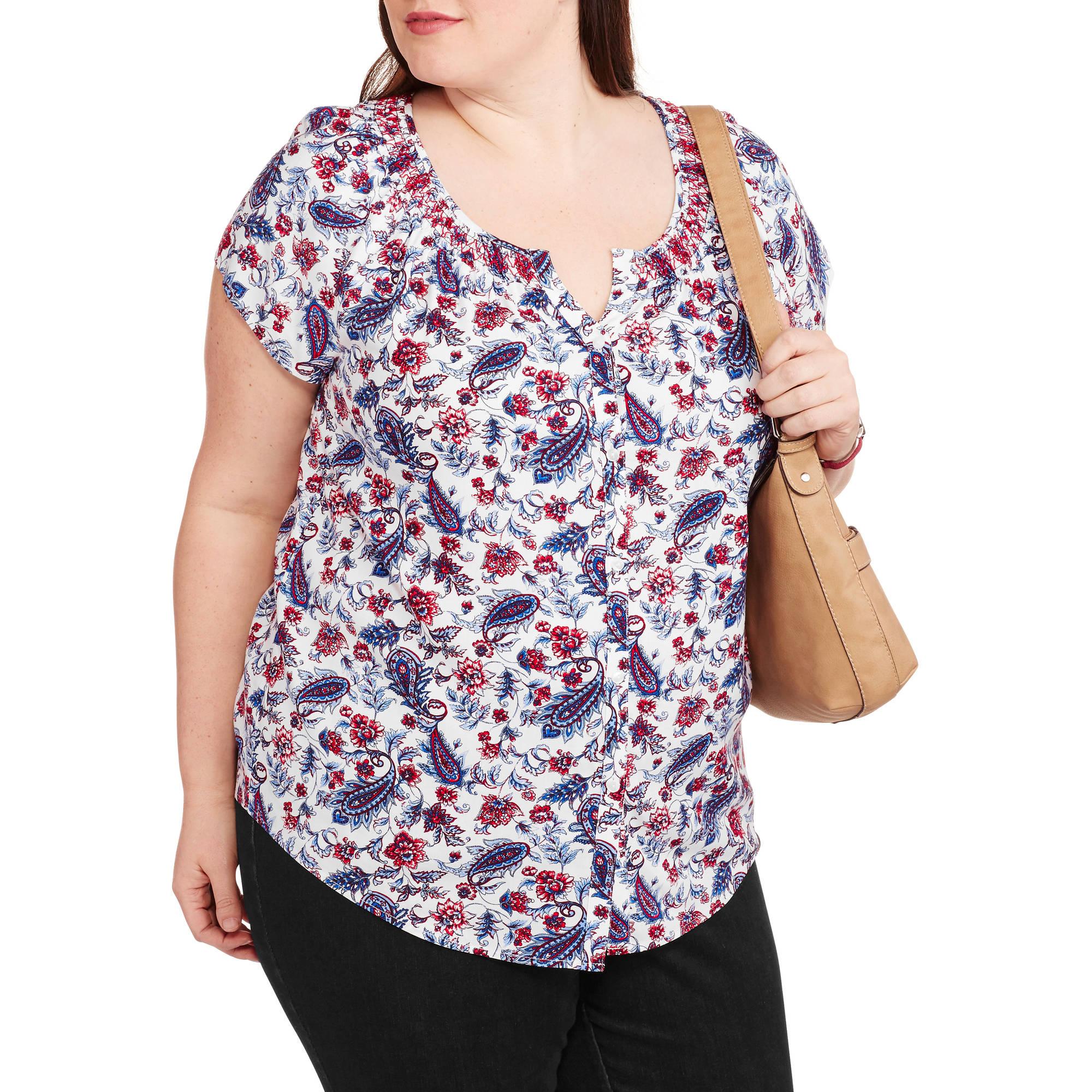 Faded Glory Women S Plus Size Woven Peasant Top Walmart Com