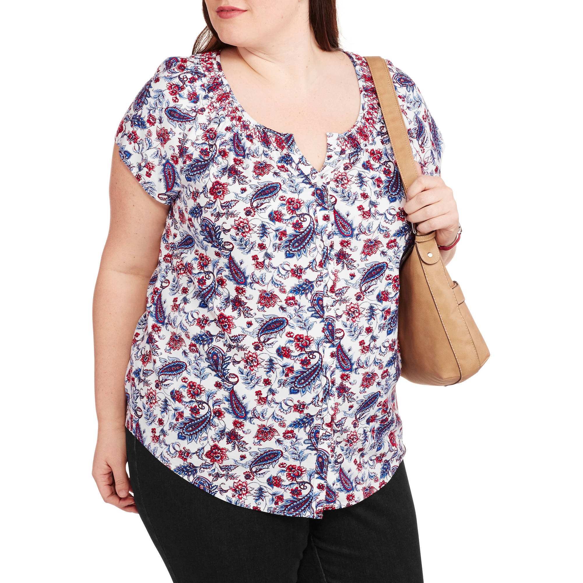 Faded Glory Women's Plus-Size Woven Button-Front Peasant Top