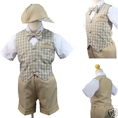 Unotux 5pc Boy Checks Gingham Eton Formal Navy Blue Short Vest Set Suit Hat S-4T 2T