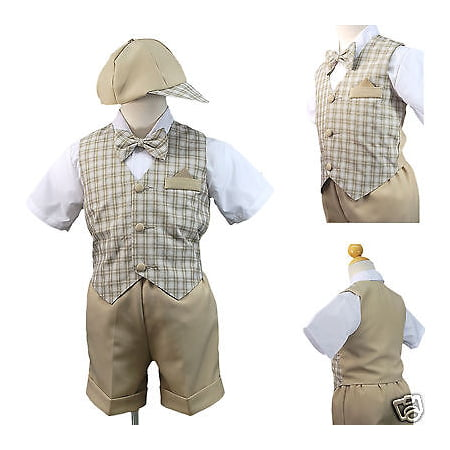 4be463dc3 New Khaki Eton Wedding Vest Shorts Suit 4 Boy Baby & Toddler 0-24M 2T 3T 4T