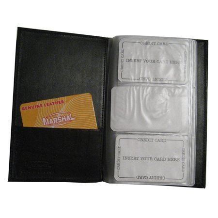 Genuine Leather Business Card Holder Organizer 120 Black Book Wallet Case New !! (Business Card Wallet)