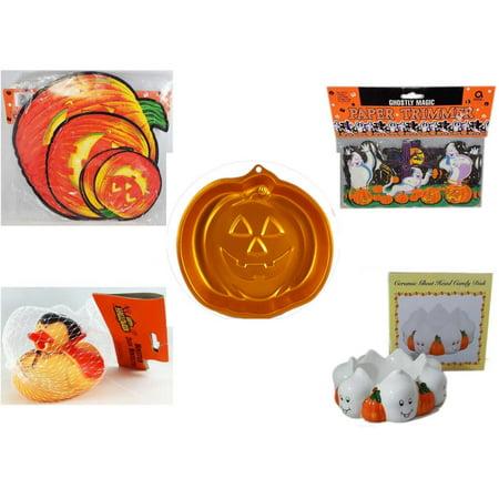 Halloween Fun Gift Bundle [5 Piece] - Classic Pumpkin Cutouts Set of 9 - Ghostly Magic Paper Trimmer 3.75 in x 9 ft. - Wilton Iridescents Jack-O-Lantern Pan - Happy  Monster Duck Novelty -Vampire Ru