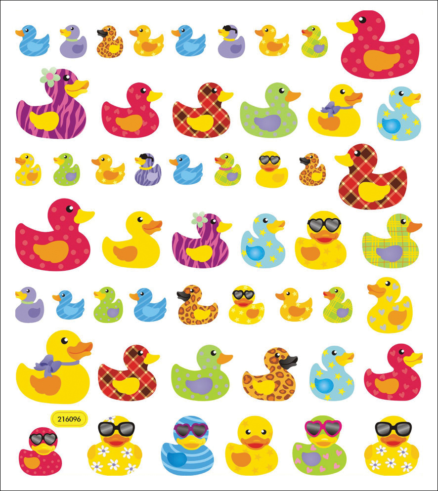 Multicolored Stickers-Patterned Ducks