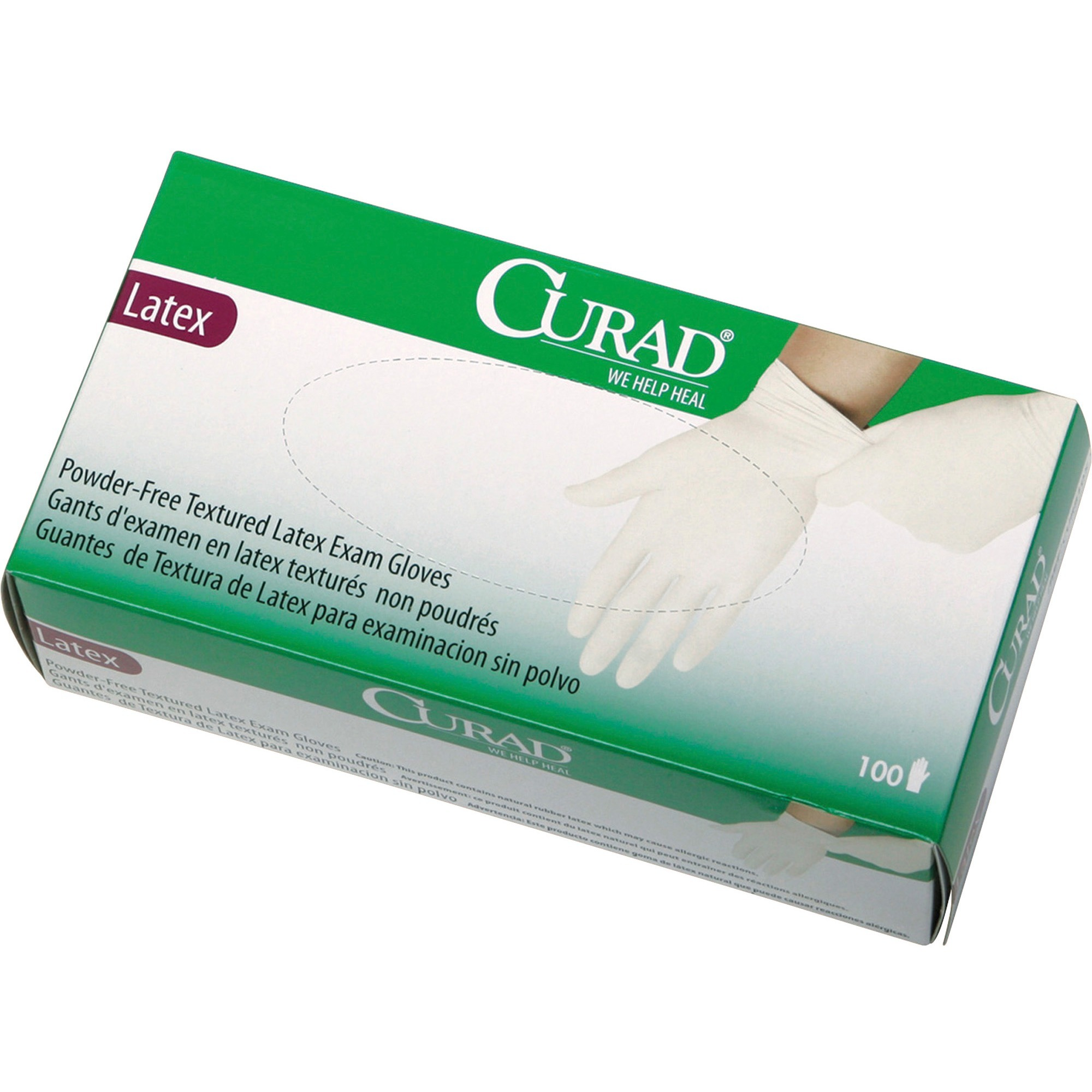 Curad, MIICUR8104, Powder Free Latex Exam Gloves, 100 / Box, White