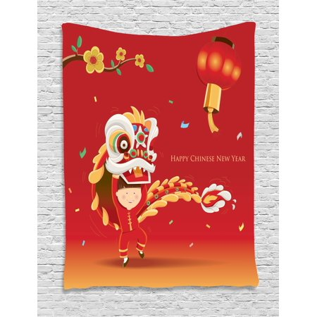 Chinese New Year Tapestry, Little Boy Performing Lion Dance with the Costume Flowering Branch Lantern, Wall Hanging for Bedroom Living Room Dorm Decor, 40W X 60L Inches, Multicolor, by Ambesonne