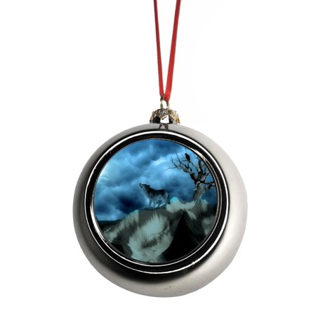 Wolf on a Mountain Ornaments Silver Bauble Christmas ...