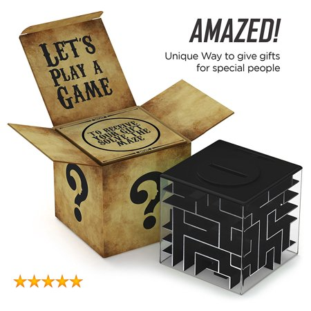 Money Maze: Unique Way to Give Small Gifts, Items - Perfect Gift Puzzle Box for Kids - Cool 1, 2, 5 Dollar Coin Piggy Bank - Safe for Children - Birthday Christmas Gift Ideas for Dad Mom Men or