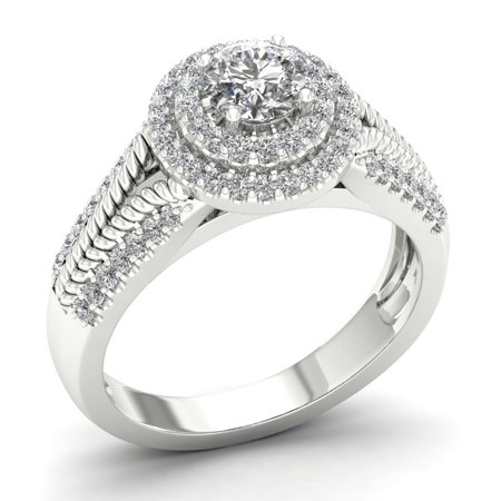 Imperial 3/4ct TDW Diamond 10K White Gold Double Halo Engagement Ring