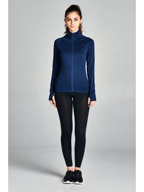 Women & Juniors Solid Workout Athletic Yoga Track Zipper Sports Jacket