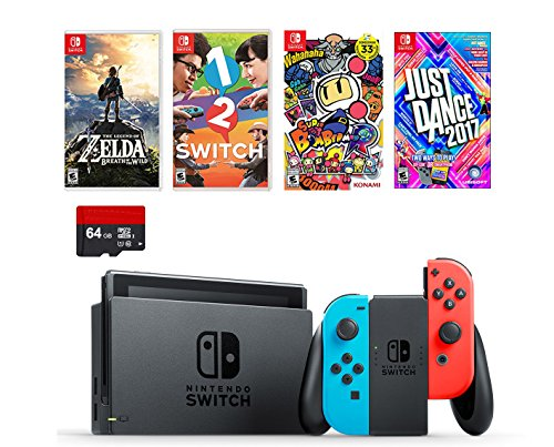 Nintendo Swtich 6 items Bundle:Nintendo Switch 32GB Console Neon Red and Blue...