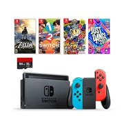 Nintendo Swtich 6 items Bundle:Nintendo Switch 32GB Console Neon Red and Blue Joy-con,64GB Sd Card,4 Game Disc1-2-Switch Just Dance2017 The Legend of Zelda Super Bomberman R