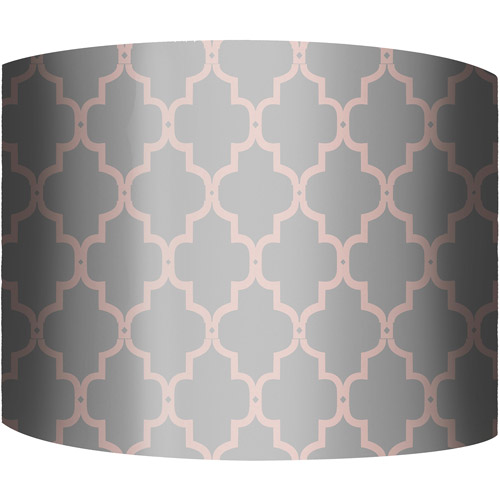 "12"" Drum Lamp Shade, Fence Pink and Gray"