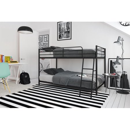 mainstays small space twin over twin bunk bed black metal. Black Bedroom Furniture Sets. Home Design Ideas