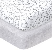Little Star Organic 100% Pure Organic Cotton Fitted Jersey Crib Sheets, 2 Pk