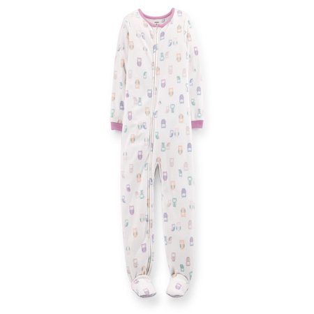 Girl Owl (Little Girls' White Owl Fleece Footed Sleeper (4T) )