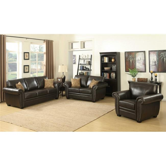 AC Pacific LOUIS BRN 3PC SET Louis 3 Piece Brown Traditional Stationary  Living Room Set