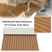 35.4'' x 94.5'' Marine Boat Sheet Teak Decking Boat Flooring Mats Yacht Flooring EVA Foam Floor Sheet Non-Skid Self-Adhesive Sea Deck, 5.5mm Thickness