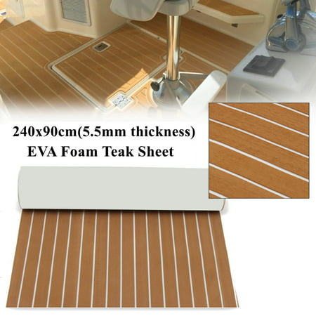 35.4'' x 94.5'' Marine Boat Sheet Teak Decking Boat Flooring Mats Yacht Flooring EVA Foam Floor Sheet Non-Skid Self-Adhesive Sea Deck, 5.5mm Thickness