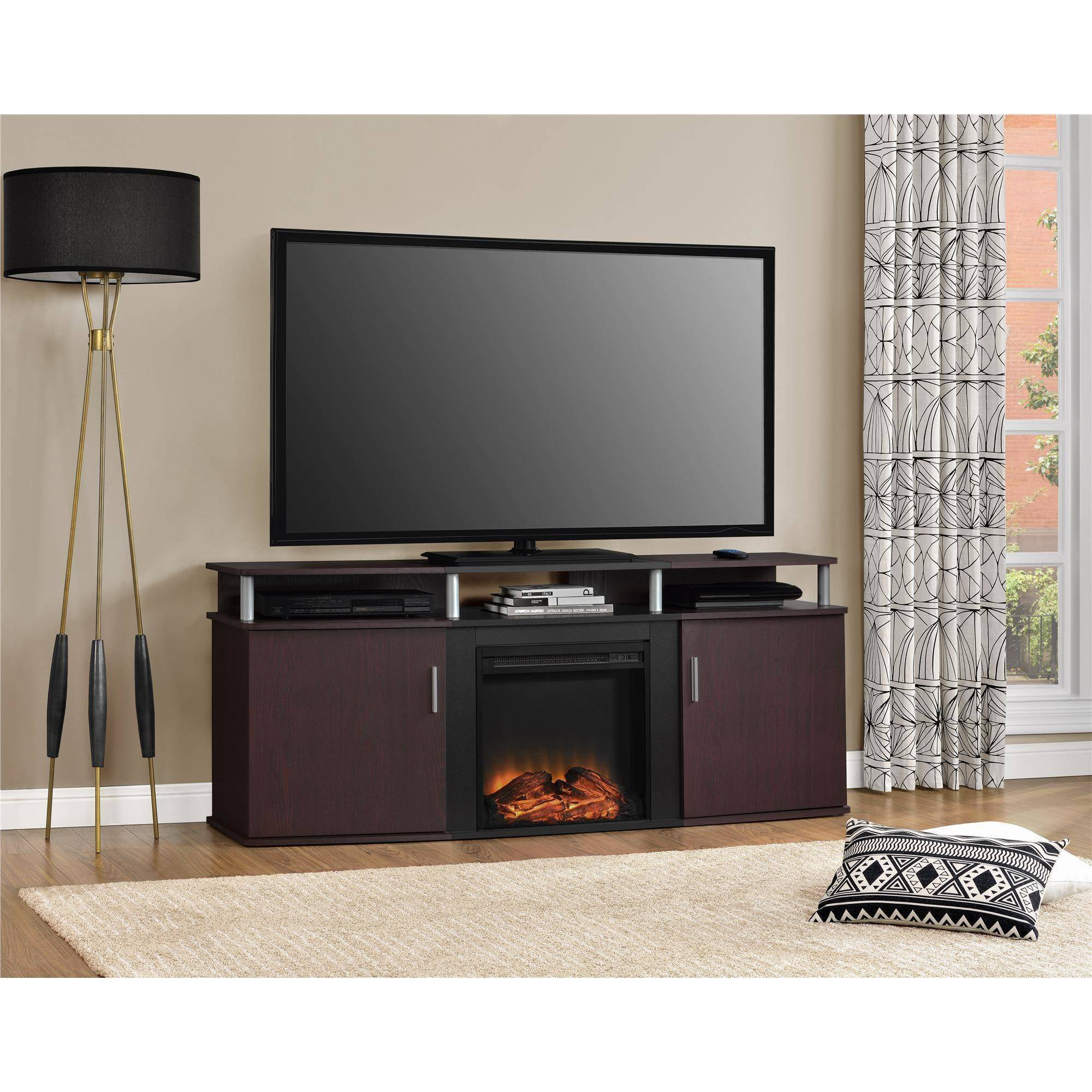 "Ameriwood Home Carson Electric Fireplace TV Console for TVs up to 70"", Cherry/Black"
