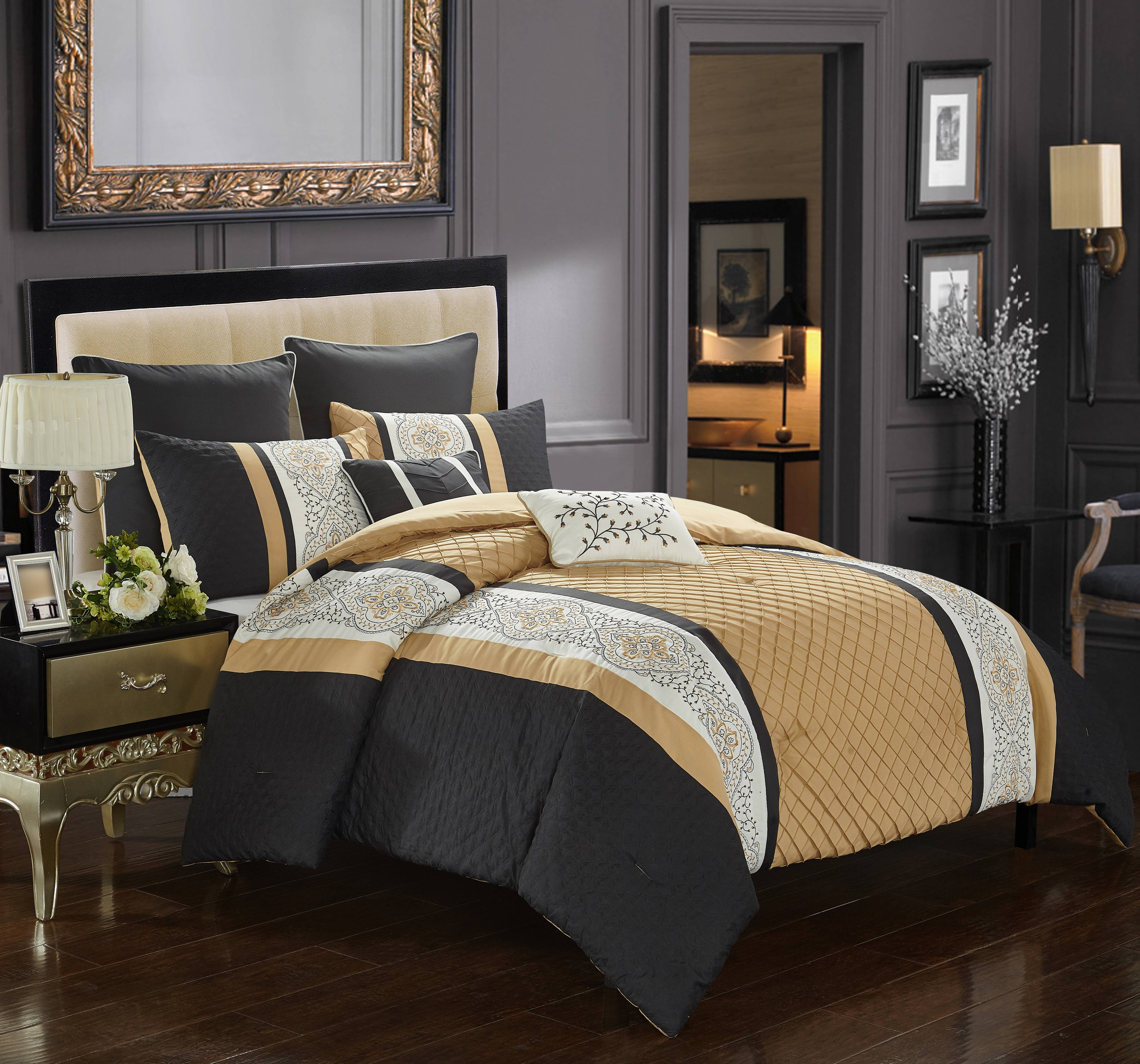 Better Homes & Gardens Quilted Embroidered Stripe 7 Piece Comforter Set