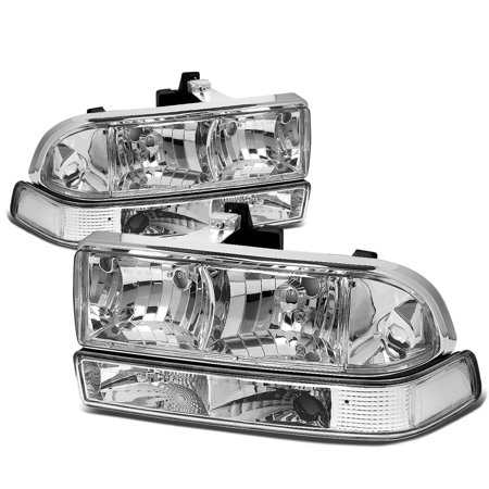 01 Chevy S10 Truck - For 1998 to 2004 Chevy S10 / Blazer GMT 325 / 330 Chrome Housing Headlight+Clear Corner Lamps 99 00 01 02 03 Left+Right