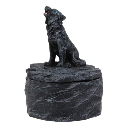 Ebros Gift Single Howling Gray Alpha Wolf Mini Rounded Jewelry Decorative Box Figurine As Decor of Timberwolves Wolves in Cries of The Night Moon Light Animal Totem Spirit Sculpture Accessory