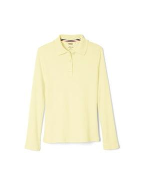 French Toast Girls School Uniform Long Sleeve Picot Collar Interlock Polo Shirt, Sizes 4-20 & Plus