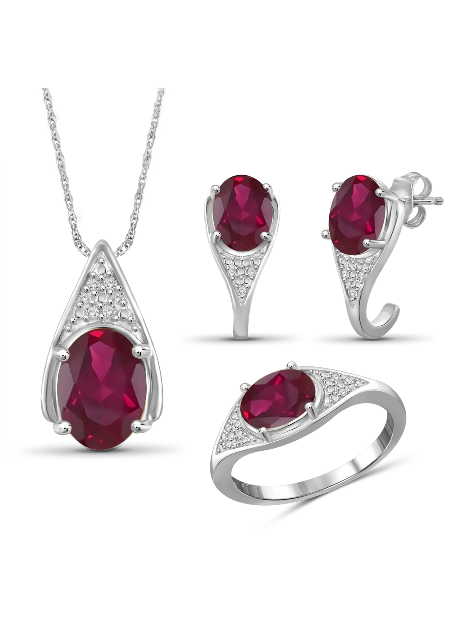JewelersClub 7 3 4 Carat T.G.W. Ruby And White Diamond Accent Sterling Silver 3-Piece Jewelry set by JewelersClub