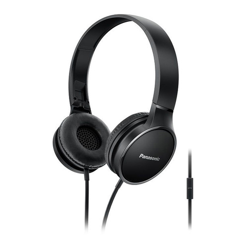 Panasonic Lightweight On-Ear Headphones with Mic and Controller, Black