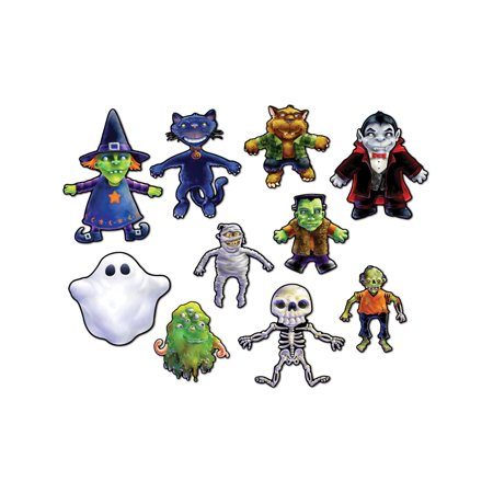 10 Piece Halloween Character Spooky Haunted Cutouts Party Decorations