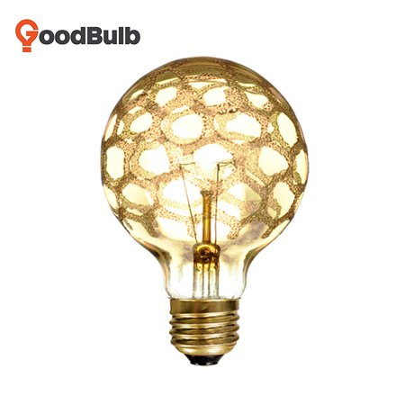 Goodbulb 40G25/MAR Crystal Collection Incandescent G25 Globe Light with Marble Finish E26 40 watt 120V 2300K Half Chrome Light Bulb - 1 Pack ()