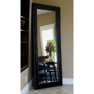 Image of Abbyson Living Delano Black Leather Floor Mirror
