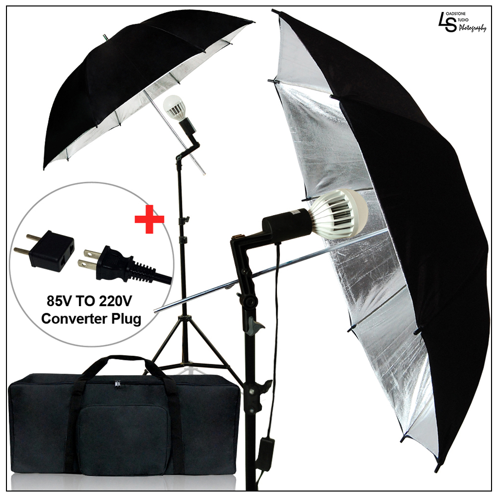 "Loadstone Studio 2pcs Set of Black/Silver 33"" Umbrella Lighting LED Bulbs Light Stand Photography Reflector Kit, WMLS1681"