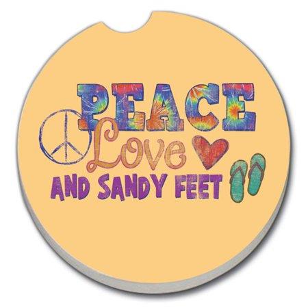 CounterArt Sandy Feet 1 pack Absorbent Car Coaster 2.6 inch Round