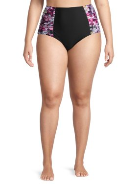 Cyn And Luca Womens Plus Waikiki Floral High Waisted Swimsuit Bottom
