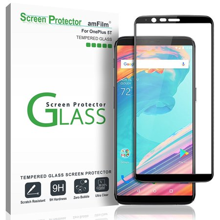 OnePlus 5T amFilm Full Cover Tempered Glass Screen Protector (1 Pack, Black)