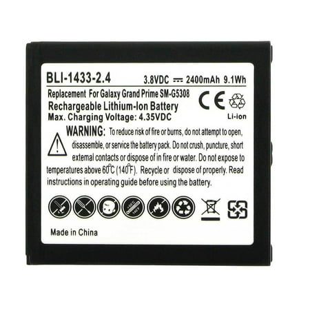 Empire BLI-1433-2.4 3.8V 2400mAh Lithium Ion (Li-ion) Smartphone Replacement Battery - Fits Samsung Galaxy Grand Prime, Galaxy J3 and LG Volt 2 + Free Shipping! This smartphone replacement battery is compatible with an assortment of models from both Lg and Samsung. The rechargeable battery pack features a lithium-ion chemistry and an impressive 2400mah capacity to imitate the power and performance of the original OEM battery. The smartphone replacement battery is from the third-party manufacturer, Empire Scientific, who is known worldwide for their high-quality after-market batteries. From tablets and smartphones to vacuums, Empire Scientific offers a wide variety of replacement batteries to power most portable electronic devices.Specifications:Battery Size: Battery PackBattery Chemistry: Lithium Ion (Li-ion)Nominal Voltage: 3.8VNominal Capacity: 2400mAhWatt Hours: 9.12WhDimensions:Length - 2.45  (62.23 mm)Width - 2.23  (56.642 mm)Height - 0.202  (5.131 mm)Compatible with: Lg VOLT 2, Lg VOLT II, Samsung AMP PRIME 2, Samsung EB-BG530, Samsung EB-BG530BBC, Samsung EB-BG530BBE, Samsung EB-BG530CBE, Samsung EB-BG530CBU, Samsung EXPRESS PRIME 2, Samsung G530, Samsung G5308, Samsung G530AZ, Samsung G530L, Samsung G530P, Samsung G530R4, Samsung G530T, Samsung G531, Samsung G531H, Samsung G550, Samsung G550FY, Samsung G550T, Samsung Galaxy AMP PRIME, Samsung Galaxy AMP PRIME 2, Samsung Galaxy AMP PRIME II, Samsung Galaxy EXPRESS PRIME, Samsung Galaxy EXPRESS PRIME 2, Samsung Galaxy EXPRESS PRIME II, Samsung Galaxy GRAND PRIME, Samsung Galaxy GRAND PRIME VE 4G, Samsung Galaxy J3, Samsung Galaxy J3 (2016), Samsung Galaxy J3 (2017), Samsung Galaxy J3 ECLIPSE, Samsung Galaxy J3 EMERGE, Samsung Galaxy J3 MISSION, Samsung Galaxy J3 PRIME, Samsung Galaxy ON5, Samsung Galaxy SOL 2, Samsung Galaxy SOL II, Samsung J30FN, Samsung J30P, Samsung J30R4, Samsung J30VPP, Samsung J320, Samsung J320A, Samsung J320FN, Samsung J320M, Samsung J320P, Samsung J320PP, Samsung J320R4, Samsung SM-G5
