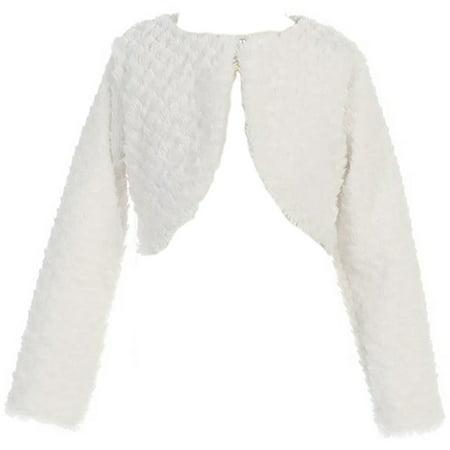 Little Girls Faux Fur Flower Girl Bolero Jacket Cover Shrug Sweater Christmas White XS (L11T09) - Girls Velvet Shrug