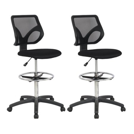 Cool Living Mesh Armless Fixed Upright Adjustable Drafting Chair, Black (2 Pack) ()