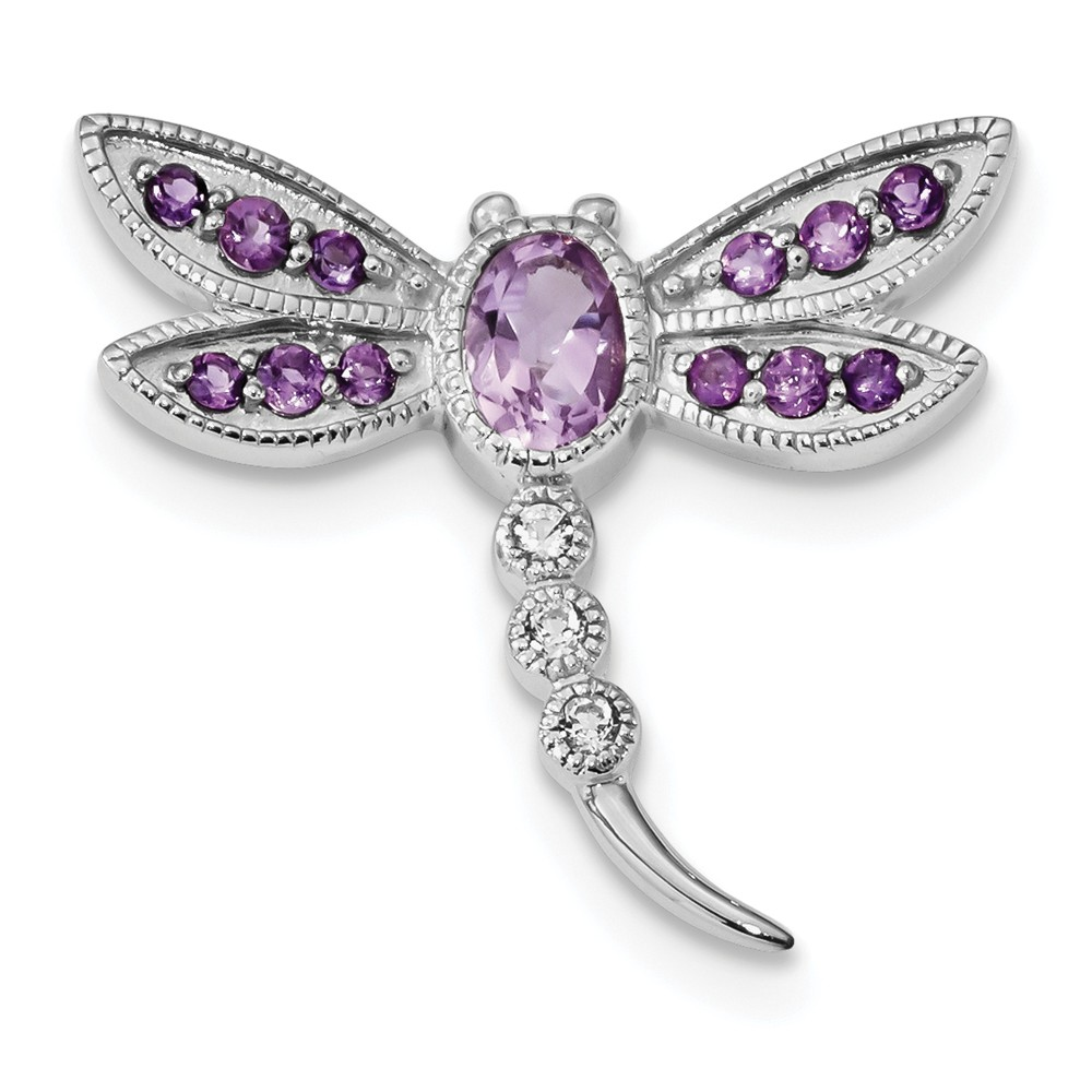 925 Sterling Silver Amethyst and White Topaz Dragonfly Pin and Chain Slide for Women by Diamond2Deal