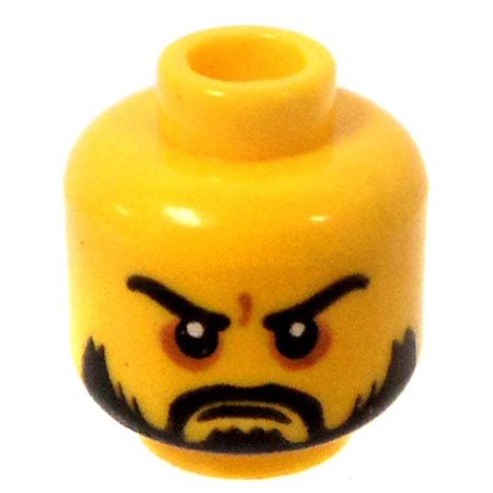 LEGO Minifigure Parts Yellow Male with Serious Look & Black Beard Minifigure