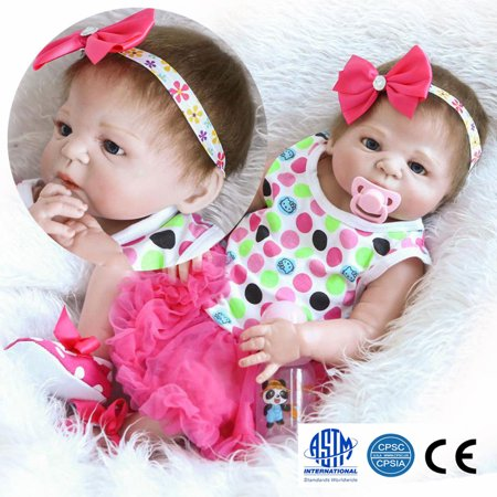 "Zimtown 23"" Reborn Full Body Silicone Baby Doll Newborn Preemie Dolls Babies with Red Bow Headbands"
