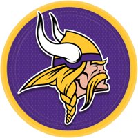 "Amscan Minnesota Vikings Round Paper 9"" Dinner Plates, Purple Gold, 8 CT"