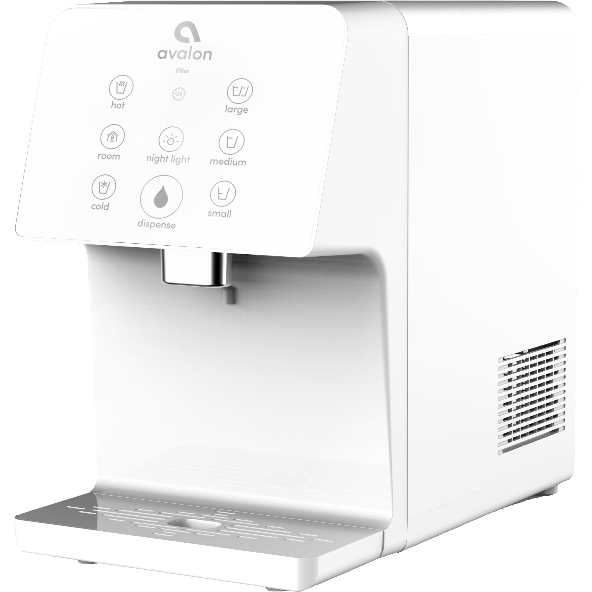 Avalon Electric Countertop Bottleless Water Cooler Water Dispenser, 3 Temperatures, UV Cleaning, 3 Dispensing Volumes- White