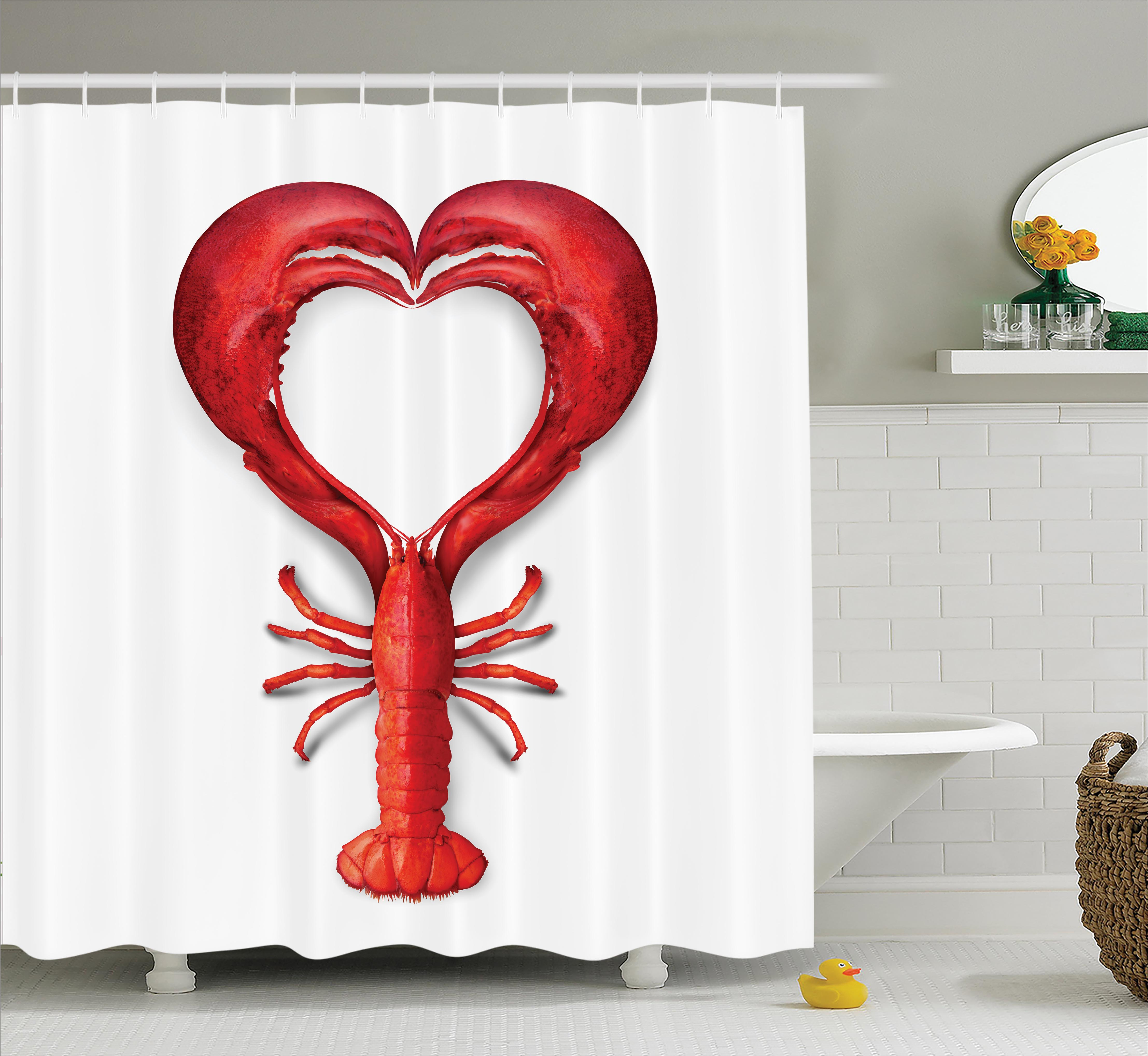 Abstract Art Shower Curtain Set, A Boiled Lobster Shaped ...