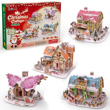 Merry Christmas 4 Styles 3D Jigsaw Puzzle Set for Kids, 134 PCs Christmas Gifts for Boys and Girls F-258 - Jigsaw Puzzles For Kids