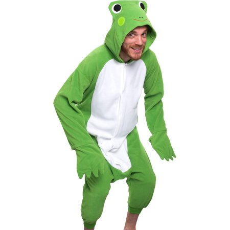 SILVER LILLY Adult Frog One Piece Animal Cosplay Halloween Costume Pajamas L NEW - Banana In Pajamas Halloween